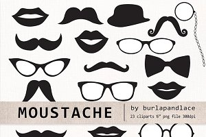 Mustache cliparts, retro party