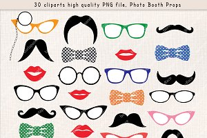Mustache party clipart