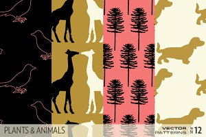Plants And Animals patterns (vector)