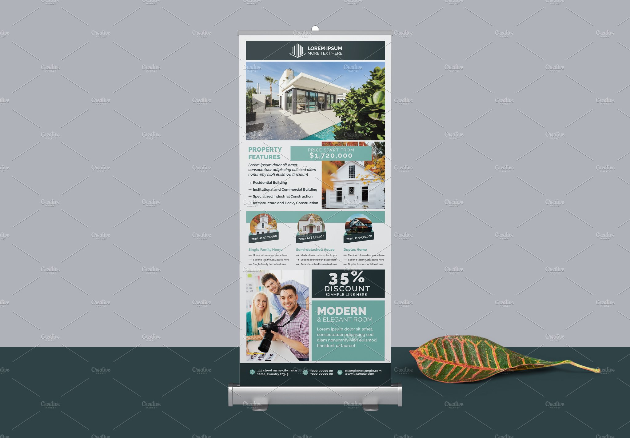 Real Estate Property Roll Up Banner Creative Illustrator Templates Creative Market