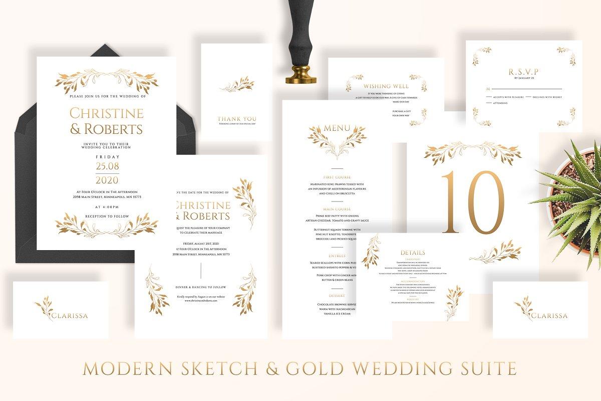 Modern Sketch & Gold Wedding Suite