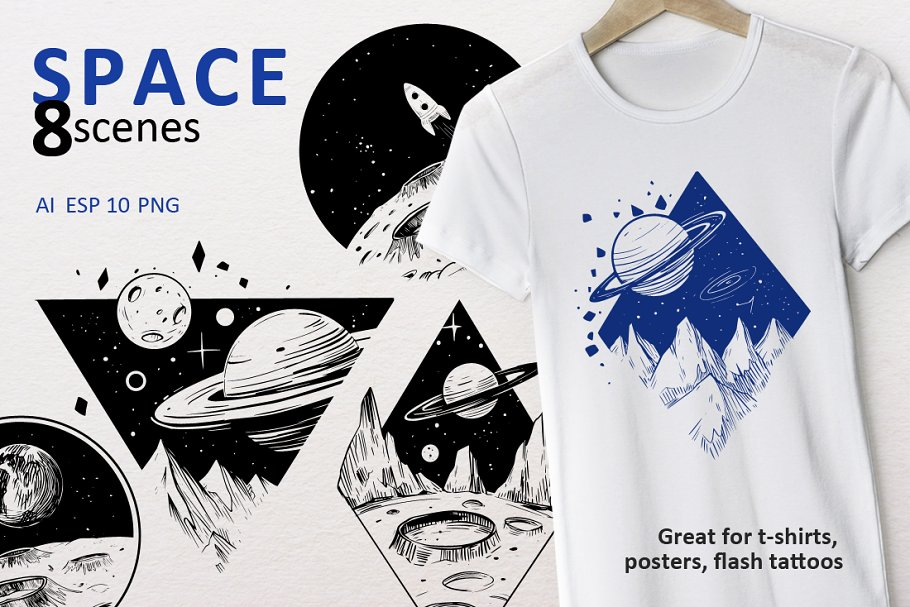 Space scenes. Vector outline