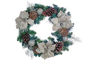 White Poinsettia Wreath on White
