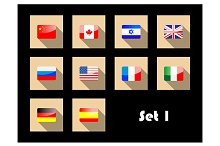 international country flags on flat