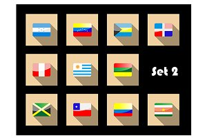International country flags set on f