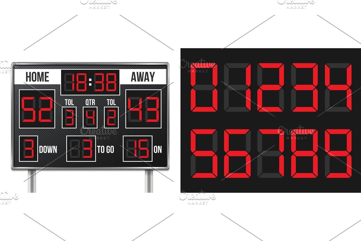 American Football Scoreboard Custom Designed Illustrations