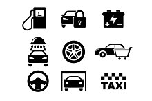 Black and white car service  icons