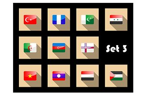 Set of flat flag icons of Eastern co