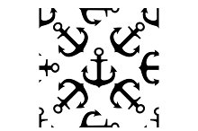 Seamless pattern of ships anchors