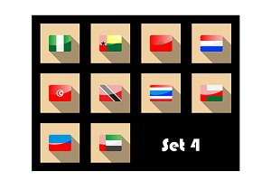 Flat icons set of international flag