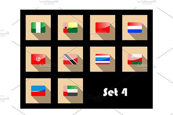 Flat icons set of international flag