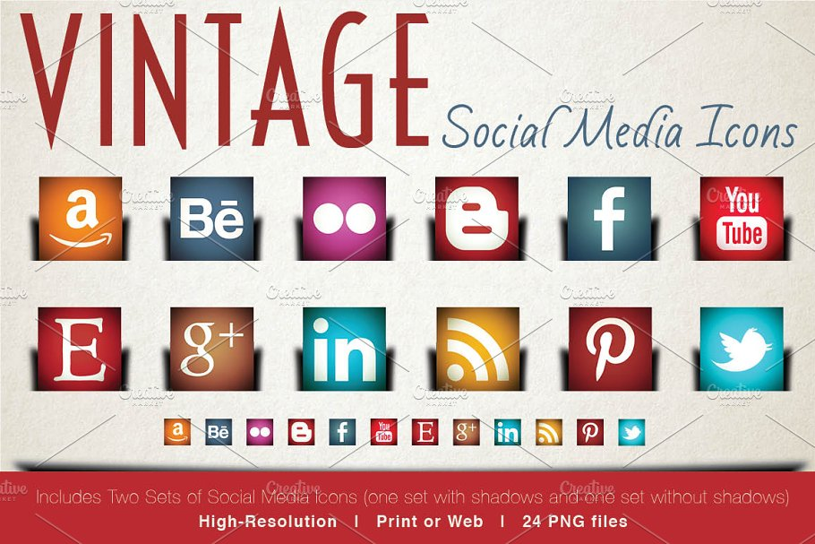 Vintage Social Media Icons Custom Designed Icons Creative Market