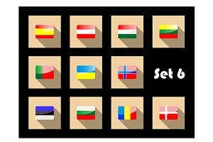 Flat european flags icons