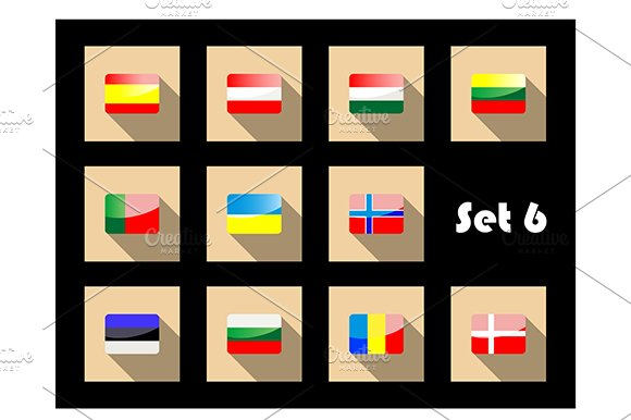 Flat european flags icons
