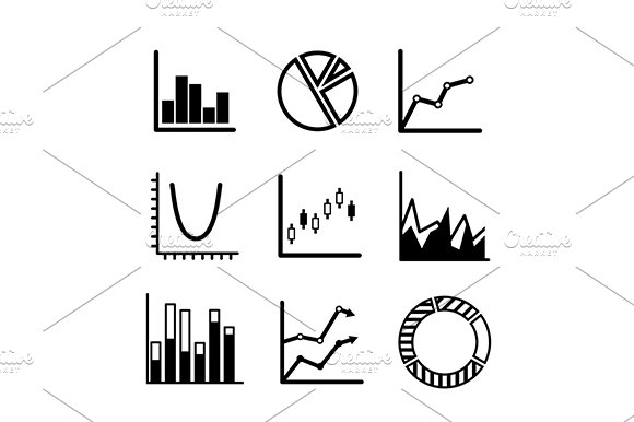 Business statistical charts and grap