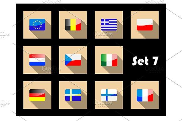 Flat flags icons of european countri