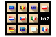 Flat flags icons of european countri