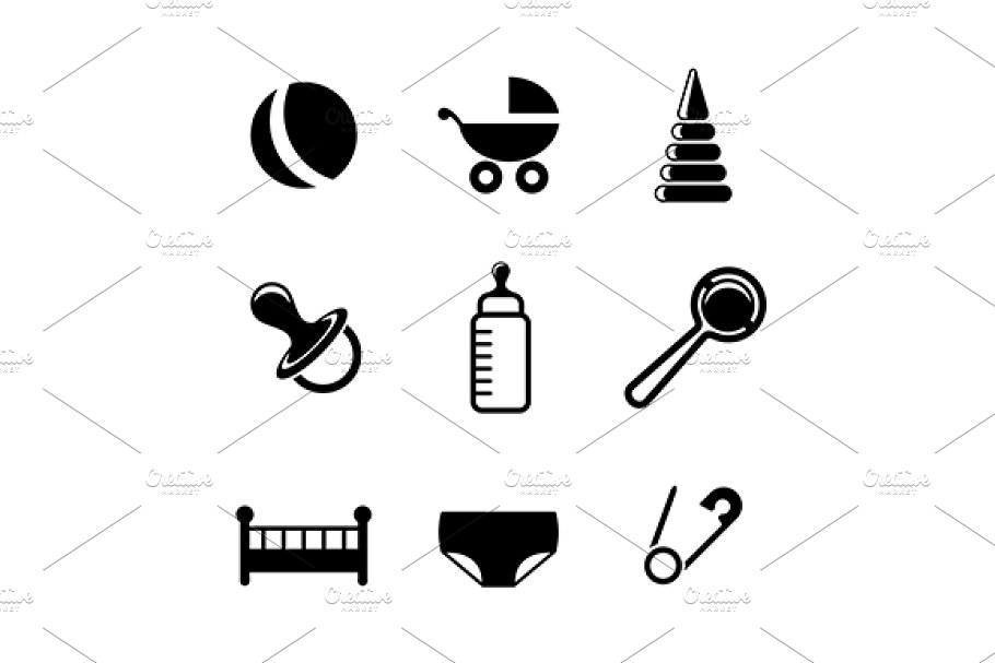 Baby and childish icons in Graphics - product preview 8