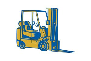Forklift Truck Side Woodcut