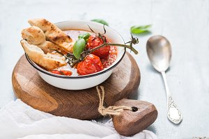 Soup Pappa al Pomodoro in metal bowl