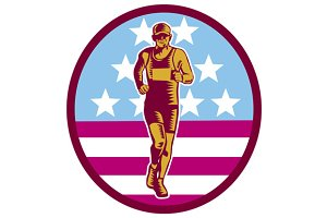 Marathon Runner USA Flag Circle Wood