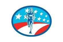 Marathon Runner USA Flag Circle Wood