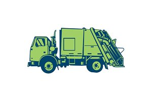Garbage Truck Rear End Loader Side W
