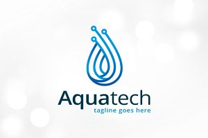 Aqua Technology Logo Template