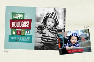 Retro Blocks Holiday Photo Card