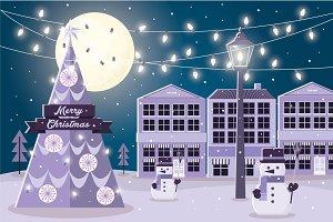 christmas at night vector