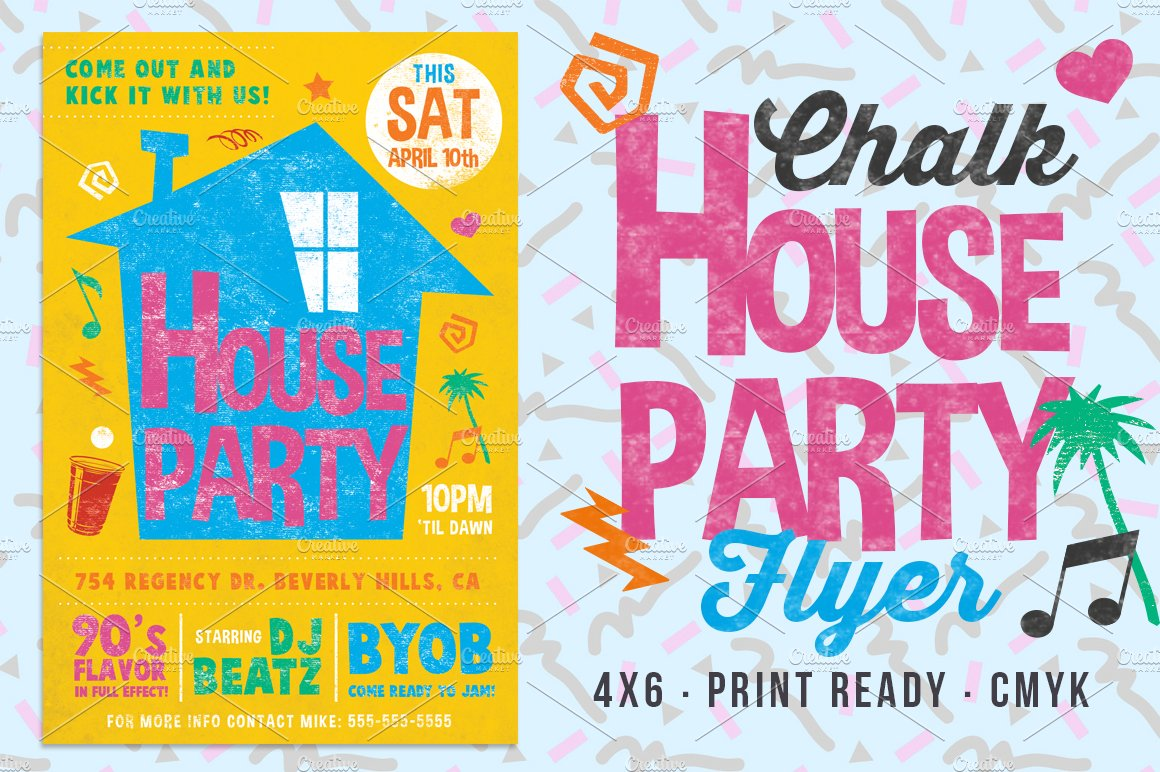 chalk house party 90s retro flyer flyer templates creative market