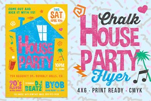 Chalk House Party 90's Retro Flyer