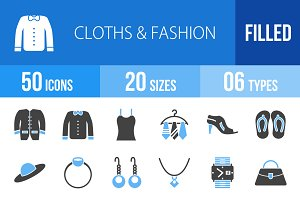 50 Clothes&Fashion Blue&Black Icons
