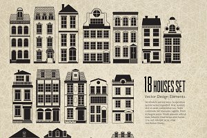 Set of 18 vector houses