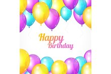 Color Happy Birthday Card.Vector