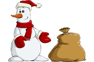 Snowman with a bag of gifts