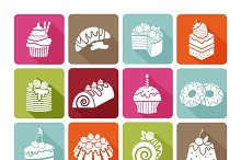 Flat dessert icons of cakes
