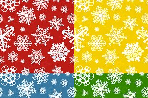 Set of four winter seamless patterns