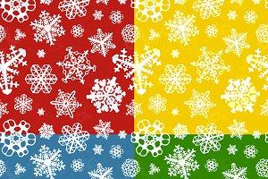 Set of four winter seamless patterns