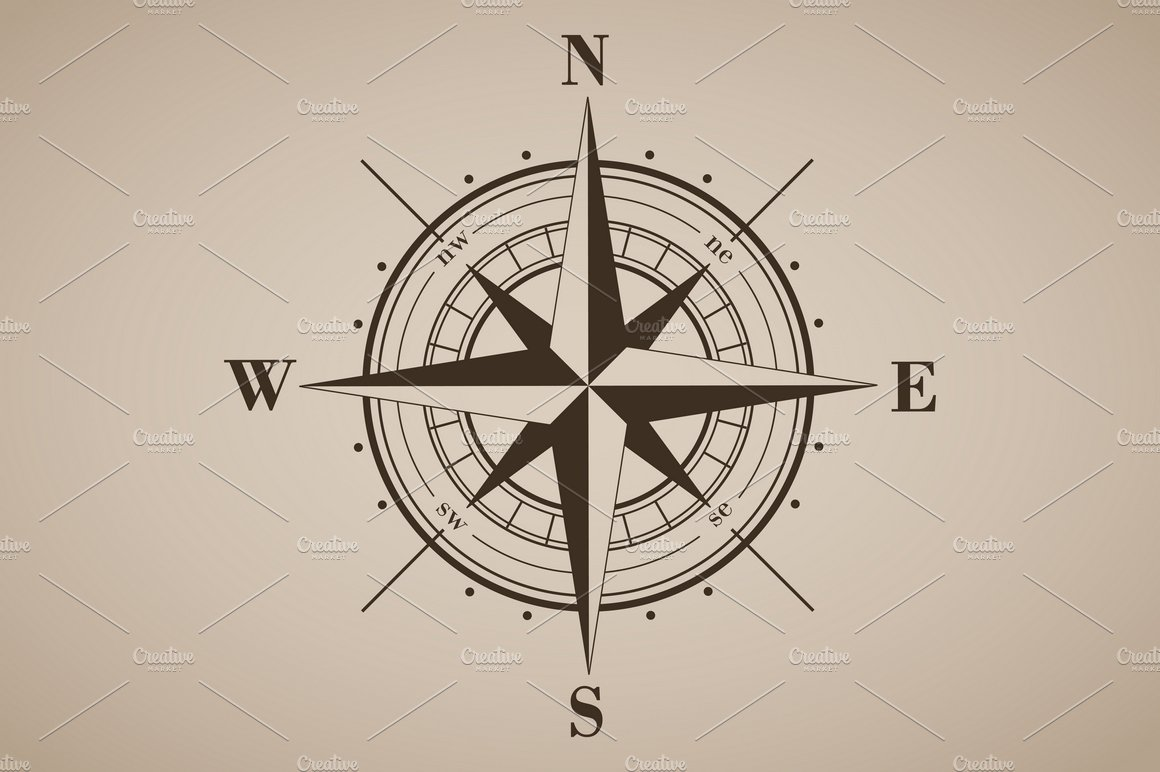 Vector Compass Rose Windrose 3 Graphic Objects