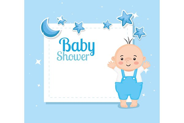 Baby Shower Card With Baby Boy And Pre Designed Vector Graphics Creative Market