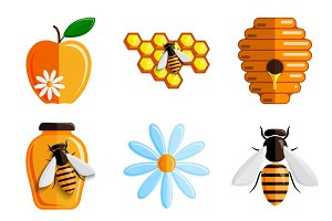 Honey. Vector set of icons.