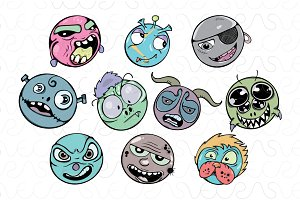 Zombie Faces - Freehand Style Vector