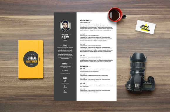 Grey - Resume template Illustrator ~ Resume Templates ~ Creative Market