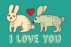Rabbit with love valentine card