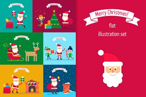 Santa Claus. Flat illustrations set
