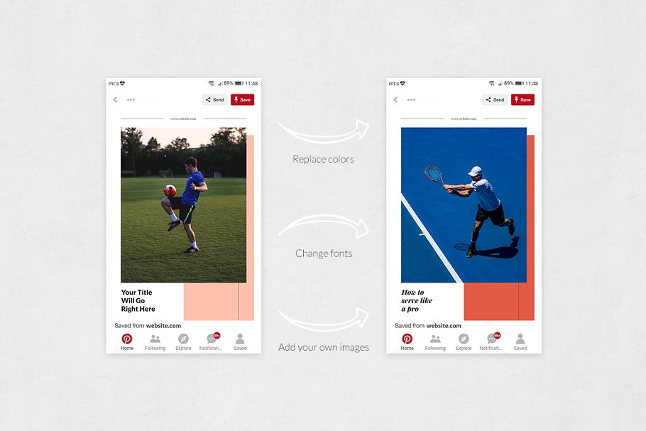 Sports Pinterest Posts in Pinterest Templates - product preview 4