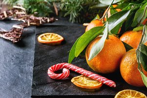 Tangerines in festive decor