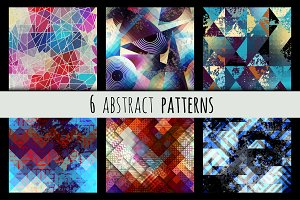Set of 6 grunge abstract patterns