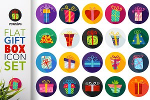 Flat Gift Box Icon Set